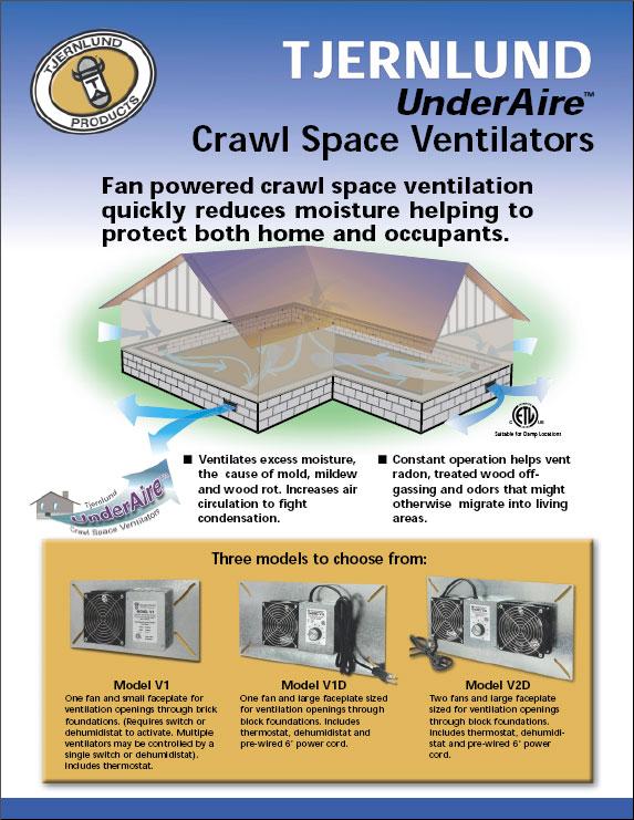 Crawl Space Vent Fans : Underaire™ crawl space ventilation fans dryer boosting